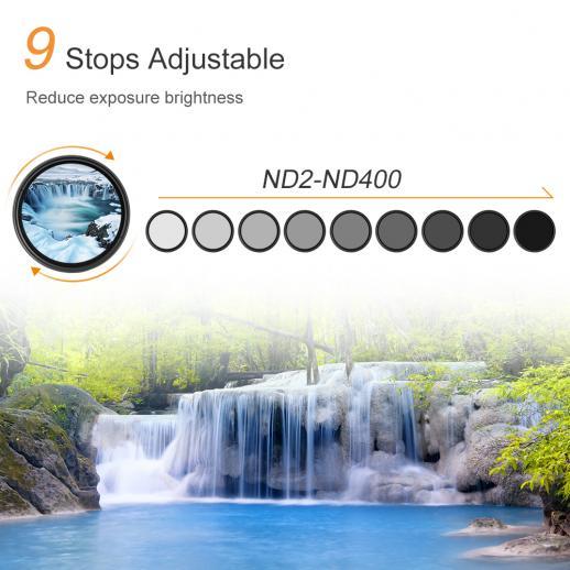 43 mm filtr ND2 do ND400 o zmiennej gęstości neutralnej ND