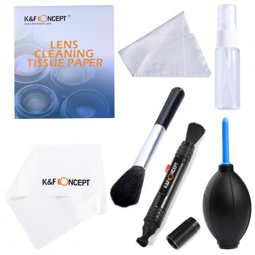 Kit de Limpeza de Câmera DSLR 7in1 (Soprador de Poeira de Lente + Caneta de Limpeza + 2X Pano de Limpeza + Garrafa + Papel de Limpeza + Pincel para Lente)