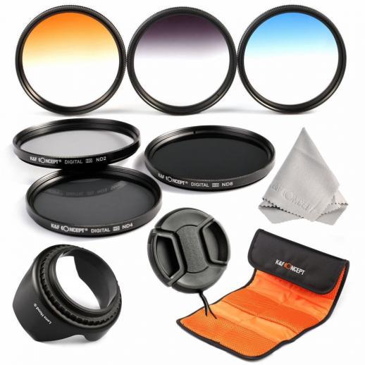 58mm Filtro Kit ND2, ND4, ND8, Azul Graduado, Laranja, Cinza