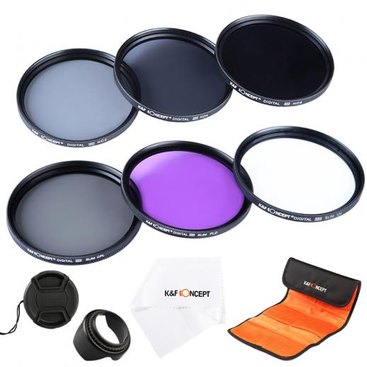 55mm Filtre Kit UV + CPL + FLD + ND2 + ND4 + ND8
