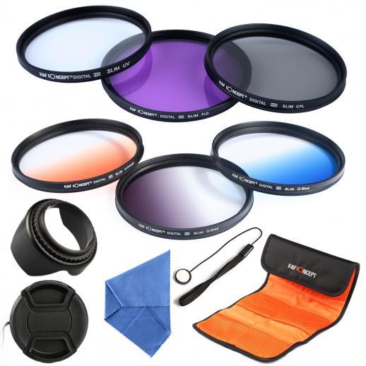 Super Kit filtros UV, Polarizador, FLD, graduados coloridos + itens de limpeza e proteção + bolso Filtros