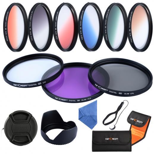52mm Filtro Kit UV, CPL, FLD, Graduado Azul, Laranja, Cinza, Vermelho, Verde, Marrom