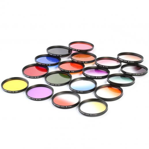 0cfec677e 58mm Filterkit Graduated & Farge Orange, Blå, Rød, Grønn, Gul, Lilla, Rosa,  Grå, Brun