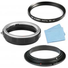 Schutzring für Canon EOS EF EF-S mit 58mm Umkehrring 58mm UV Filter Reinigungstuch