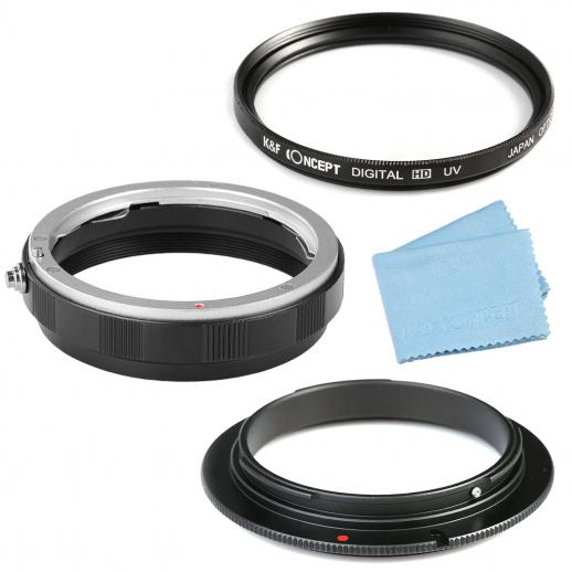 58mm Marco Reverse Adapter Ring + Lens Mount Protection Ring + 58mm Slim UV Filter + Cleaning Cloth