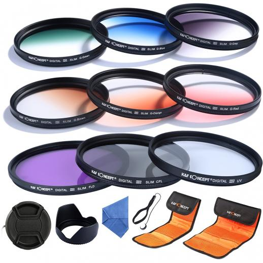 77mm Filtro Kit UV, CPL, FLD, Graduado Azul, Laranja, Cinza, Vermelho, Verde, Marrom