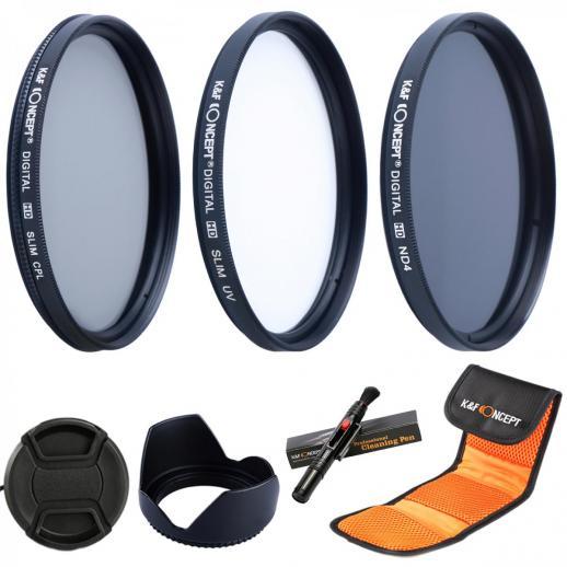 37mm UV CPL ND4 Filtro de acessórios para lenços de densidade neutra Compatível com Câmera Canon Nikon DSLR + Caneta de limpeza + Capa para lente de pétala de flor + Tampa da lente de pitada central + Bolsa para filtro